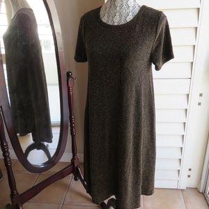 LulaRoe Carly Dress Black with Gold Thread S
